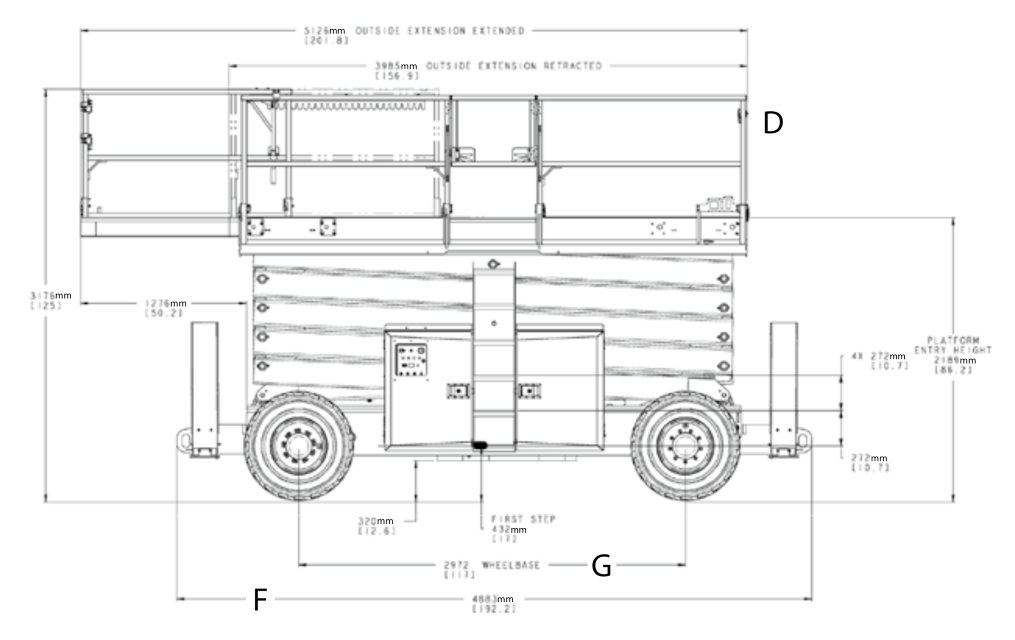 JLG 530LRT Dimensions (2)