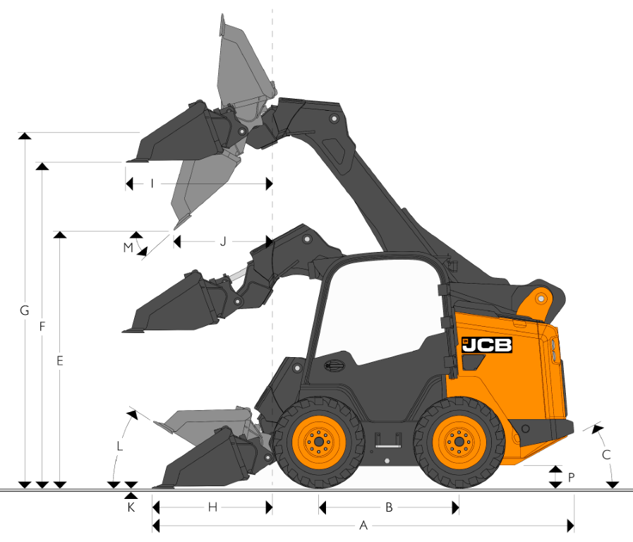 JCB SSL 205 High Flow - Dimensions (1)